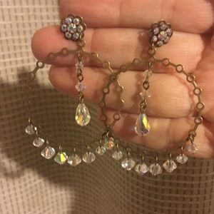 Jewelry - Gold hoops with white dangling beads